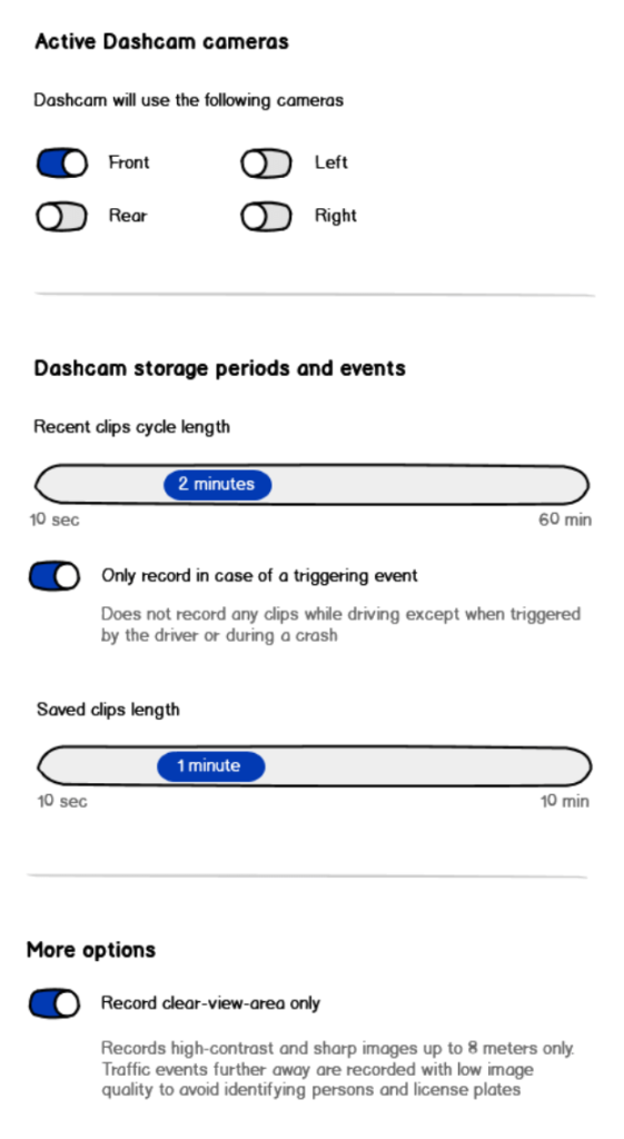 Vorschlag für Dashcam-Einstellungen in einem Tesla, der auf Grundlage der Empfehlungen unseres Gastes erstellt wurde.